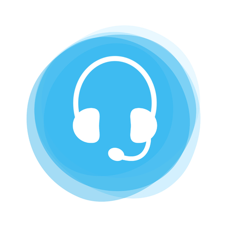 Round light blue Button showing white Headset Icon