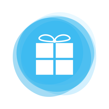 Round light blue Button showing white Gift Icon Stock Photo