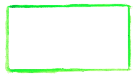 Isolated blank green fram - hand drawn with watercolor