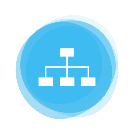 Isolated light blue round Button with Network Icon Stock Photo