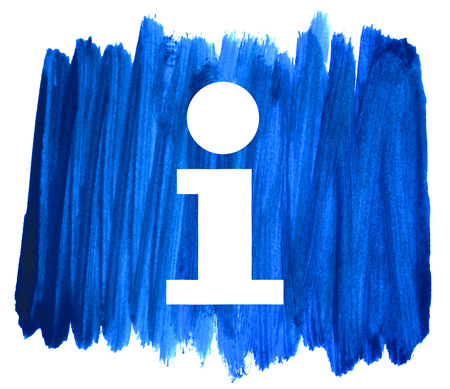 Info symbol on sketch of dirty blue hand drawn strokes