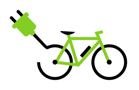 Modern E-Bike Icon showing bike with battery and plug Stock Photo