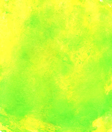 Hand painted soft watercolor background texture with green yellow color