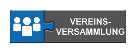 Isolated Puzzle Button with People Symbols showing Assembly of a Club in german language Stock Photo