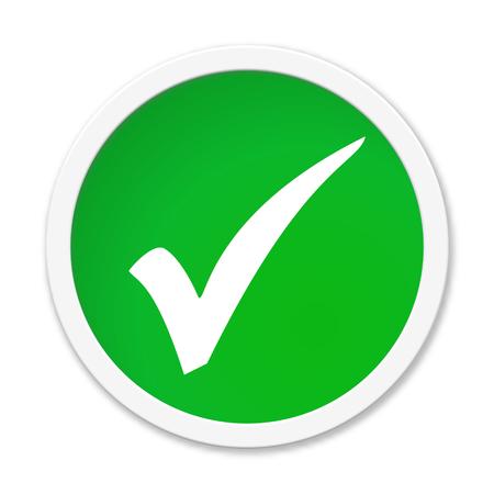 Round isolated green Button: Tick Icon Reklamní fotografie