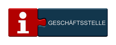 Isolated Puzzle Button with Info Symbol showing Branch in german language 3D Illustraion