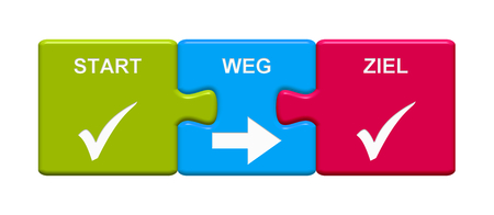 Three Puzzle Buttons with tick symbols showing Start Way Goal in german language 3D rendering Stockfoto