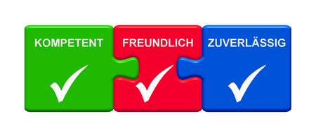 Three Puzzle Buttons with tick symbols showing Capable Friendly Reliable in german language 3D rendering