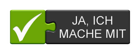 Isolated Puzzle Button with Tick Symbol showing Yes, I am in in german language Banque d'images