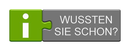 Isolated Puzzle Button with Info Symbol showing Did you know? in german language Stock fotó