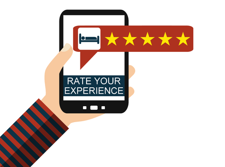 Hand holding Smartphone: Hotel Review - Rate your Experience - Flat Design