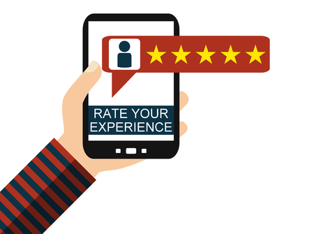 Hand holding Smartphone: Review - Rate your Experience - Flat Design Banque d'images - 107319474