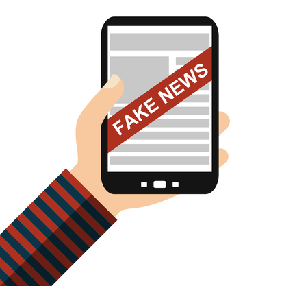 Hand holding Smartphone: Fake News - Flat Design
