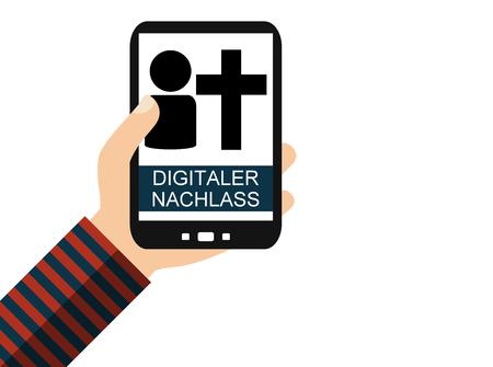 Hand holding Smartphone: Digital Testate in german language - Flat Design