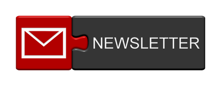 Isolated Puzzle Button with Envelope Symbol showing Newsletter