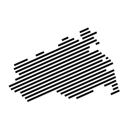 Mecklenburg-Vorpommern - Isolated striped silhouette map of german Federal State Mecklenburg-Vorpommern Stok Fotoğraf