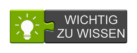 Isolated Puzzle Button with light bulb Symbol showing Important to Know in german language Stock fotó