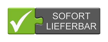 Isolated Puzzle Button with Tick Symbol showing Available now in german language