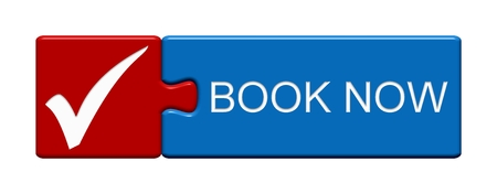 Isolated Puzzle Button with Tick Symbol showing Book Now