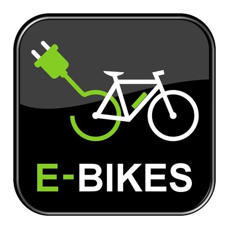 Black isolated E-Bike Button