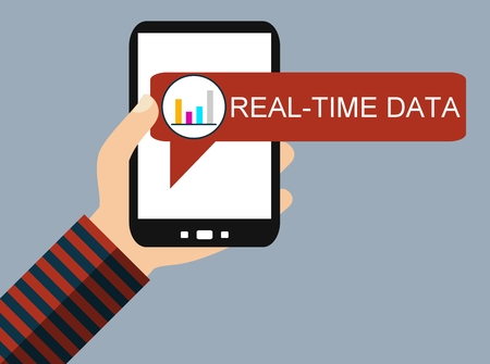 Hand holding Smartphone with Diagram icon: Realt-Time Data - Flat Design 스톡 콘텐츠
