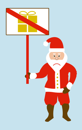 Angry santa claus with sign is protesting against christmas presents