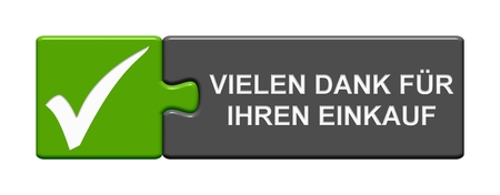 Isolated Puzzle Button green grey with tick symbol showing Thank you for your attention in german language
