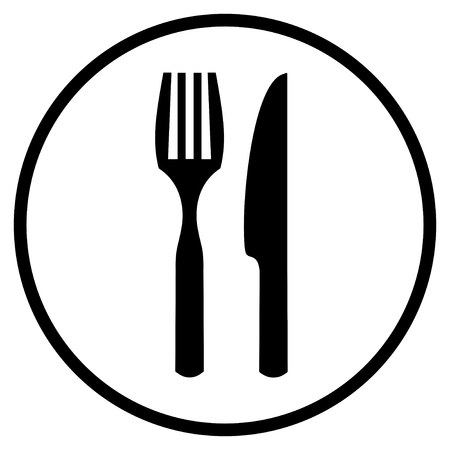 Symbol of Fork and Knife - Flat Icon for Food or Restaurant