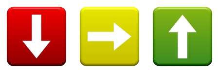 3 Buttons red yellow green with arrows