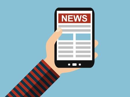 Hand holding Smartphone: Online News - Flat Design