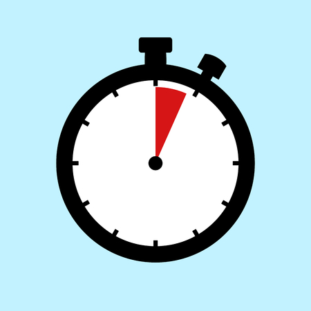 4 Minutes or 4 Seconds - Flat Design Stopwatch on blue background