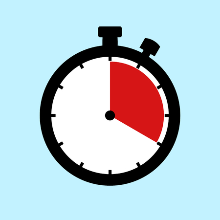 20 Minutes or 20 Seconds or 4 Hours - Flat Design Stopwatch on blue background