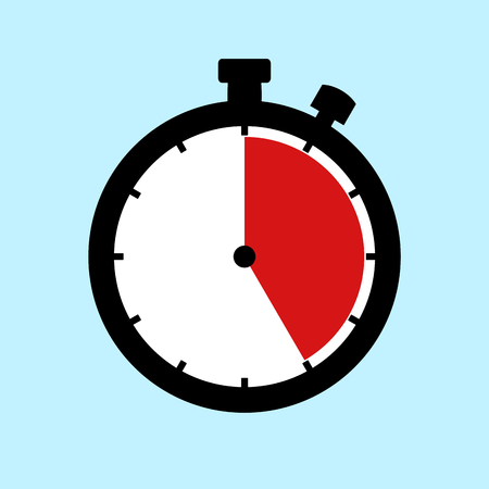 25 Minutes or 25 Seconds or 5 Hours - Flat Design Stopwatch on blue background