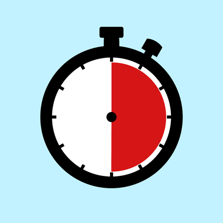 30 Minutes or 30 Seconds or 6 Hours - Flat Design Stopwatch on blue background