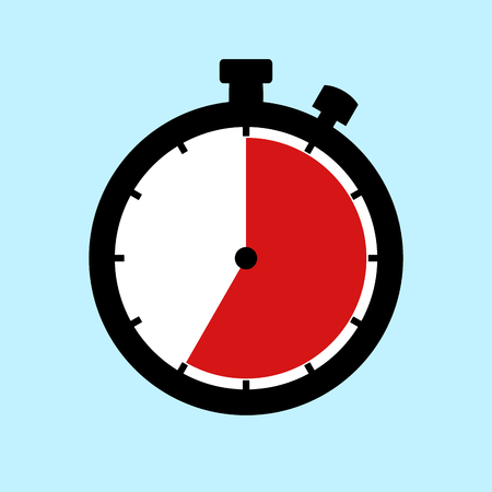 35 Minutes or 35 Seconds or 7 Hours - Flat Design Stopwatch on blue background