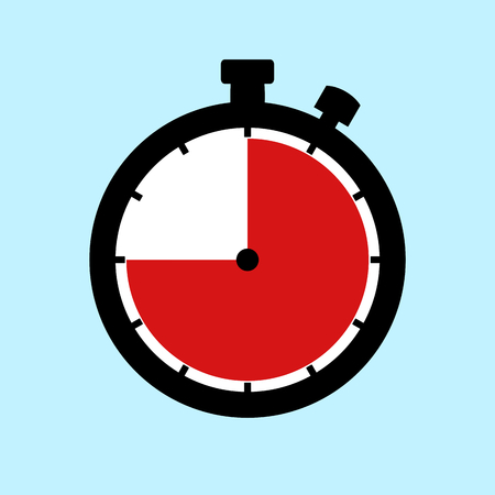45 Minutes or 45 Seconds or 9 Hours - Flat Design Stopwatch on blue background