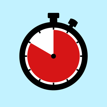 50 Minutes or 50 Seconds or 10 Hours - Flat Design Stopwatch on blue background Banque d'images
