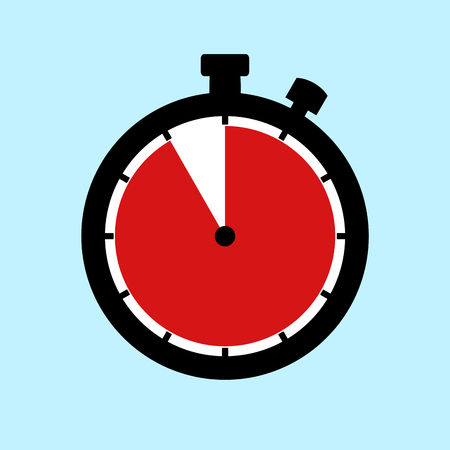 55 Minutes or 55 Seconds or 11 Hours - Flat Design Stopwatch on blue background
