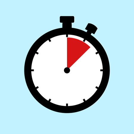 90 Minutes or 1,5 Hours - Flat Design Stopwatch on blue background