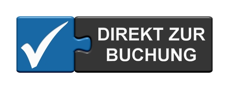Button with tick symbol showing: Book directly in german language Imagens