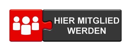 Button with people symbols showing: Become a member her in german language Stockfoto