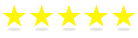 5 yellow stars icons for top quality or customer satisfaction