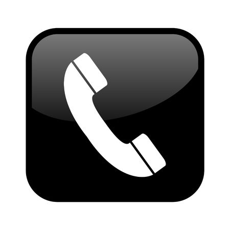 Shiny isolated black Button: Telephone Hotline or Contact