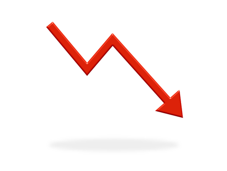 Arrow icon with red color showing down - Symbol for Crisis, Stock or finance 版權商用圖片