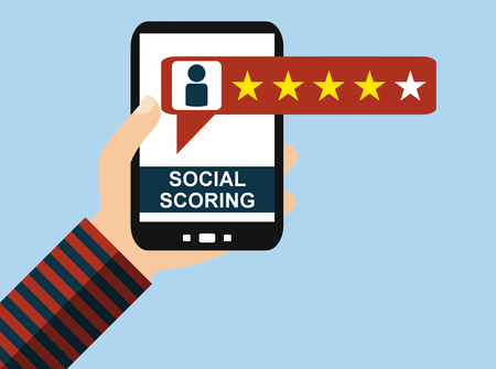 Hand holding Smartphone: Social Scoring - Flat Design Stock Photo