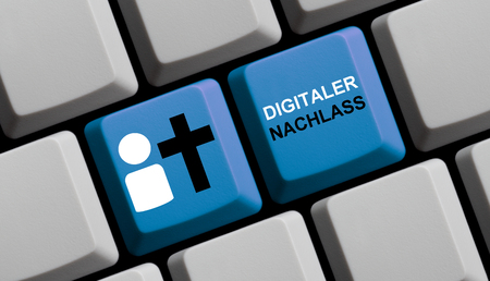 Digital Testament in german language - Person icon and cross on blue computer keyboard Standard-Bild - 125787432