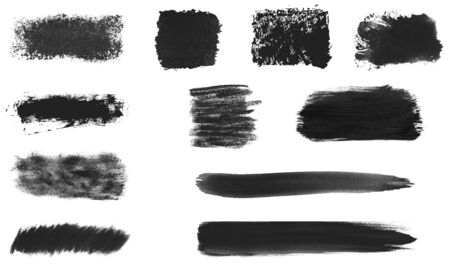 Set of 11 hand painted black brush texture - Stripes and Banners