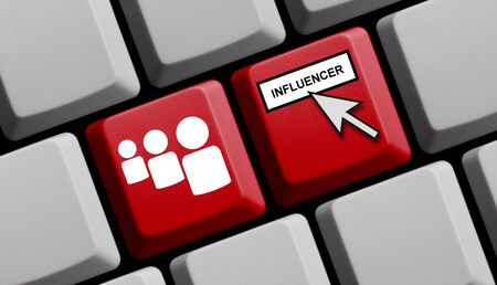 Red computer keyboard showing Influencer Marketing concept Standard-Bild
