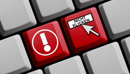 Do not click in german language on red computer keyboard Stock Photo