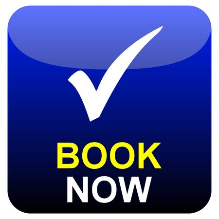 Shiny modern isolated blue black button: Book Now with tick symbol